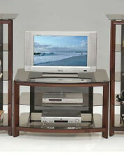 23''H CONCISE STYLE TEMPERED GLASS&CHERRY FINISH WOOD ENTERTAMENT TV STAND-ASDI