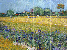Art Van Gogh VIEW OF ARLES WITH IRISES Mural Ceramic Backsplash Tile #3000