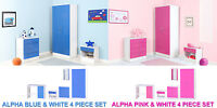 Alpha Boys & Girls Blue or Pink High Gloss & White Bedroom Furniture Units Sets
