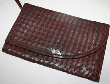 Vintage Bottega Veneta Intrecciato Burgundy Woven Leather Clutch Bag Purse EUC