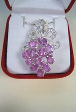 8.27 CTW PINK & WHITE SAPPHIRE NECKLACE - WHITE GOLD over 925 STERLING SILVER