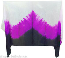 BELLY DANCE SILK VEIL HAND TIE-DYE 45X108 WHITE/PURPLE/BLACK