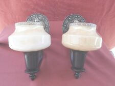 1920s ARTS & CRAFTS SCONCE PAIR W/ CUSTARD GLASS SHADES