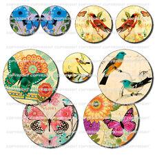 72 Images digitales pour cabochon Oiseaux Papillons rétro nature 4 formats rond