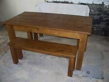 (any size made) SOLID WOOD DINING TABLE & BENCHES CHUNKY RUSTIC PLANK PINE