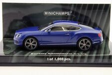 BENTLEY CONTINENTAL GT V8 2011 BLUE METALLIC MINICHAMPS 436139982 1/43 LHD BLAU
