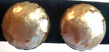 MIRIAM HASKELL ROUND FAUX PEARL CLIP BACK EARRINGS ESTATE JEWELRY 50'S VINTAGE