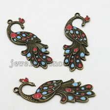 5x Antique Bronze&Enamel Peacock Alloy Charms Pendants Jewelry Crafts Findings J