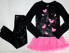 JUSTICE Long Sleeve Tunic Dress Tulle Sequined Leggings Girl Size 10 Black Pink