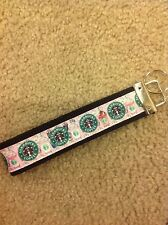 New Handmade Starbucks Coffee latte logo Wristlet Key Chain Hand Lanyard Key Fob