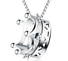 031 NEU Damen Halskette Krone Anhänger Zirkonia 925 Sterling Silber Pl