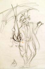"""Julian Ritter -Clown wITH an Umbrella  Charcoal on Vellum 19""""x22"""" Un-Signed- 252"""