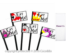 Coco&Bo 10 x Eat Me Food Picks Alice in Wonderland Mad Hatters Party Decorations