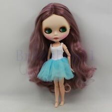 """12"""" Neo Blythe factory Doll Nude Long Purple curly hair +Jointed Body Matte face"""