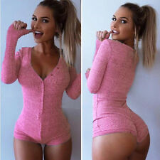 Womens V Neck Bodycon Pajamas Stretch Leotard Sexy Nightwear Jumpsuit Romper Top