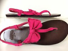 Hollister Adorable Pink Fabric Bow & Leather Sole Thong Sandals 8.5