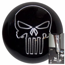 Black Silver Punisher Skull shift knob for Dodge Chrys Jeep auto stk w/ adapter