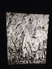 "John Marin ""Woolworth Building Etching"" Watercolor Modern Art 35mm Glass Slide"