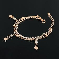 WrYrFion 18K Gold Plated Crystal Rhinestone Drop Heart  Bracelet for Women