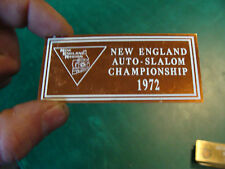 Unused Dash Plaque: 1972 NEW ENGLAND AUTO-SALOM CHAMPIONSHIP