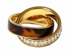 Michael Kors MKJ3089 Women's Gold Tone Tortoise Eternity Ring Size 7 Jewelry