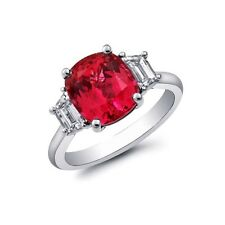Natural Spinel 3.96 carats set in Platinum Ring with Diamonds / GRS Report
