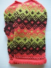 Latvian hand knitted 100% wool mittens, coral/brown/light green (size M/L)
