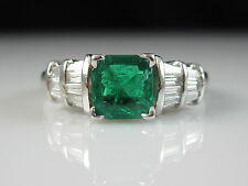 Platinum Emerald Diamond Ring White Gold Green Square Baguette Fine Jewelry