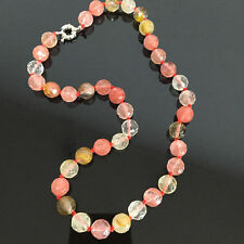 """10mm Faceted Watermelon Tourmaline Round Beads Gems Necklace 18"""""""