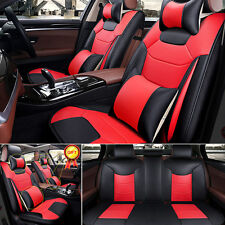 Top M Size Microfiber Leather Seat Covers Black&Red 5-Seats Sedan SUV Front+Rear
