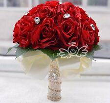 Artificial Red Wedding Bouquets For Brides Bridesmaid Hand Holding Rose Flowers