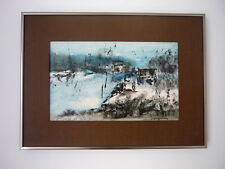 "Canadian painter Jacques Jourdain,  mix painting, framed 15""x30"""