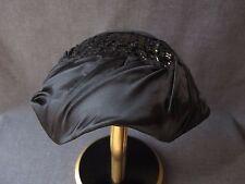Vintage Black Sequins & Pleated Satin Fascinator Hat
