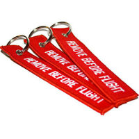 New 2pcs Red Remove Before Flight Embroidered Canvas Luggage Tag Label Keychain