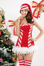 Sexy Women's Candy Cane Christmas Santa Fancy Dress Costume Outfit