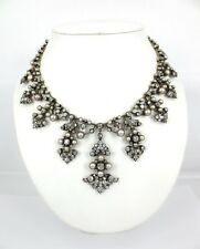 Antique Victorian 25ct Diamond & Natural Pearl Silver & Gold Tiara Necklace