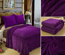 Solid Purple Blanket Bedding Throw Fleece Full Queen Super Soft Warm  Value