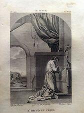S. BRUNO IN PREGHIERA Le Sueur  Galerie du musée Napoléon J. Lavallée 1804-1815