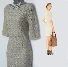 *MONSOON*Neutral Julia Sequin CROCHET Knit 3/4 Sleeves Evening Dress sz8/36  £89