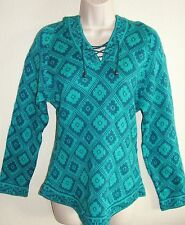 New Womens Small Peruvian Sweater Alpaca Ethnic Pattern Hooded Knit Teal