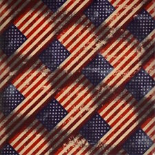 Made in USA Patriotic Diagonal American Flags 100% cotton fabric by the yard