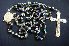 Beautiful Old GLASS BEADS AND BRONZE SILVERED CROSS ITALY ROSARY no. 2