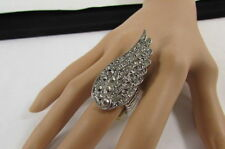 NEW WOMEN SILVER METAL LARGE BIG FASHION RING LONG EAGLE FEATHER WING RHINESTONE