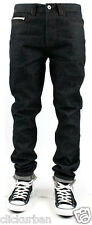 KAYDEN.K Men's Selvage Tape Roll Up TAPERED FIT Raw Denim Jeans Size 30 - 44