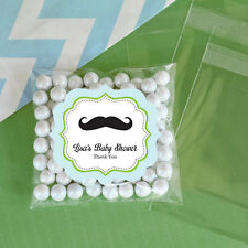 24 Little Man Personalized Clear Candy Bags Baby Shower Birthday Party Favors
