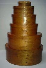 6 Shaker Style  Nesting Oval Wood  Storage Boxes