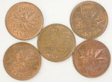 Mixed Lot Of 1937-1955 Canadian One Cent Cents Coin