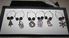 boxed set 6 Christmas wine glass charms ideal gift dinner party new