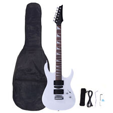 New Burning Fire Electric Guitar Strap Cord Gigbag Picks for Beginner White