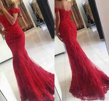 Off-shoulder Red Lace Mermaid Evening Prom Cocktail Dress Ball Fishtail Gowns
